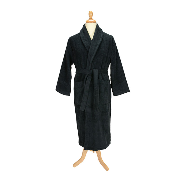Bath robe with shawl collar