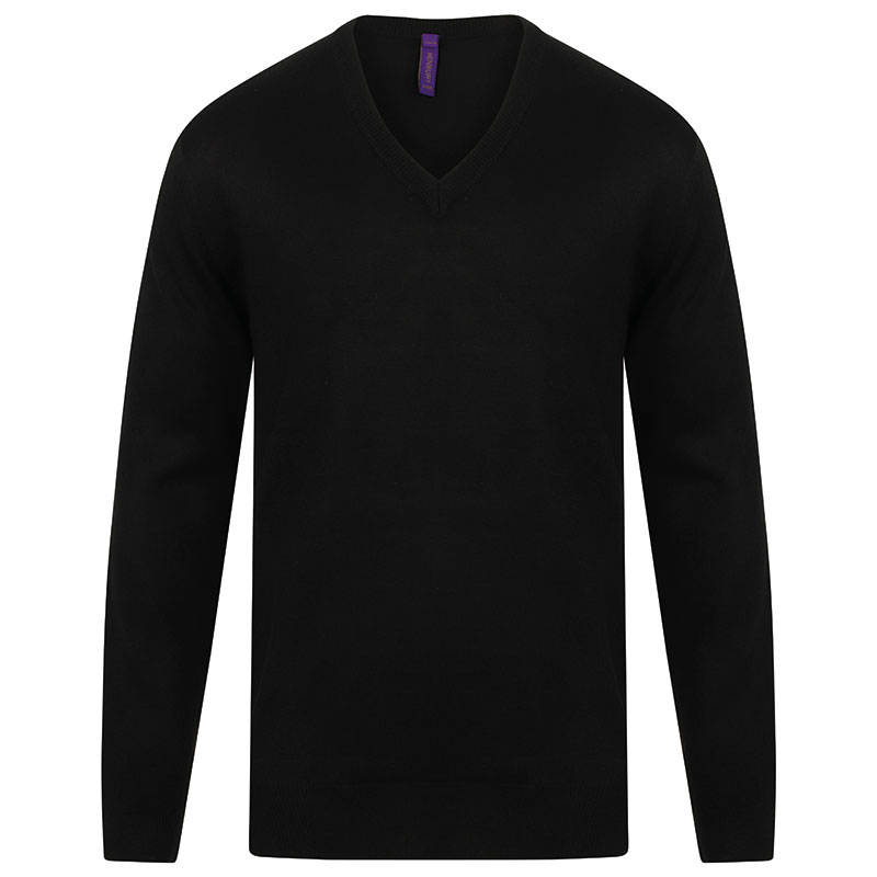 Cashmere touch acrylic v-neck jumper